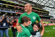 7 September 2019; Ireland captain Rory Best, with his children Ben and Penny after the Guinness Summer Series match between Ireland and Wales at Aviva Stadium in Dublin. Photo by Brendan Moran/Sportsfile