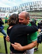 7 September 2019; Rory Best of Ireland hugs his wife Jodie following the Guinness Summer Series match between Ireland and Wales at Aviva Stadium in Dublin. Photo by David Fitzgerald/Sportsfile