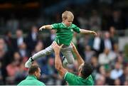 7 September 2019; Rob Kearney of Ireland with Luca Sexton following the Guinness Summer Series match between Ireland and Wales at the Aviva Stadium in Dublin. Photo by Ramsey Cardy/Sportsfile