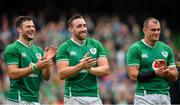 7 September 2019; Ireland players, from left, Robbie Henshaw, Jack Conan and Rhys Ruddock following the Guinness Summer Series match between Ireland and Wales at Aviva Stadium in Dublin. Photo by David Fitzgerald/Sportsfile