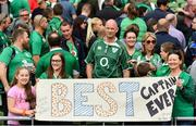 7 September 2019; Supporters hold a banner for Ireland captain Rory Best following the Guinness Summer Series match between Ireland and Wales at the Aviva Stadium in Dublin. Photo by Ramsey Cardy/Sportsfile
