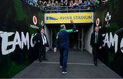 7 September 2019; Ireland head coach Joe Schmidt waves to supporters as he leaves the pitch after the Guinness Summer Series match between Ireland and Wales at Aviva Stadium in Dublin. Photo by Brendan Moran/Sportsfile