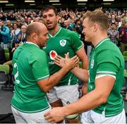 7 September 2019; Ireland captain Rory Best with, Jean Kleyn, centre, and Josh van der Flier after the Guinness Summer Series match between Ireland and Wales at Aviva Stadium in Dublin. Photo by Brendan Moran/Sportsfile