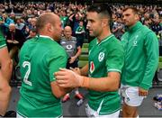 7 September 2019; Ireland captain Rory Best with Conor Murray, right, after the Guinness Summer Series match between Ireland and Wales at Aviva Stadium in Dublin. Photo by Brendan Moran/Sportsfile