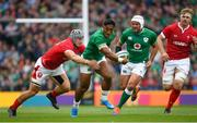 7 September 2019; Bundee Aki of Ireland is tackled by Jonathan Davies of Wales during the Guinness Summer Series match between Ireland and Wales at the Aviva Stadium in Dublin. Photo by Ramsey Cardy/Sportsfile