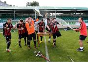 7 September 2019; Bohemians players celebrate after winning the Megazyme Amputee Football League Cup Finals at Carlisle Grounds in Bray, Co Wicklow. Photo by Stephen McCarthy/Sportsfile