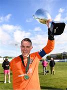7 September 2019; Bohemians captain James Conroy celebrates following the Megazyme Amputee Football League Cup Finals at Carlisle Grounds in Bray, Co Wicklow. Photo by Stephen McCarthy/Sportsfile