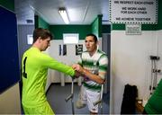 7 September 2019; Justin Guiney, left, and Alan Wall of Shamrock Rovers prepare for the Megazyme Amputee Football League Cup Finals at Carlisle Grounds in Bray, Co Wicklow. Photo by Stephen McCarthy/Sportsfile