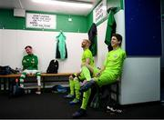 7 September 2019; Shamrock Rovers players, from left, Stephen Cahill, Patrick Hutton and Justin Guiney prior to the Megazyme Amputee Football League Cup Finals at Carlisle Grounds in Bray, Co Wicklow. Photo by Stephen McCarthy/Sportsfile