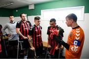7 September 2019; Bohemians captain James Conroy speaks to his players prior to the Megazyme Amputee Football League Cup Finals at Carlisle Grounds in Bray, Co Wicklow. Photo by Stephen McCarthy/Sportsfile