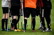 7 September 2019; Bohemians players prior to the Megazyme Amputee Football League Cup Finals at Carlisle Grounds in Bray, Co Wicklow. Photo by Stephen McCarthy/Sportsfile