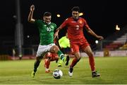 6 September 2019; Troy Parrott of Republic of Ireland and Hovhannes Nazaryan of Armenia during the UEFA European U21 Championship Qualifier Group 1 match between Republic of Ireland and Armenia at Tallaght Stadium in Tallaght, Dublin. Photo by Stephen McCarthy/Sportsfile