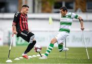 7 September 2019; Stefan Balog of Bohemians and Alan Wall of Shamrock Rovers during the Megazyme Amputee Football League Cup Finals at Carlisle Grounds in Bray, Co Wicklow. Photo by Stephen McCarthy/Sportsfile