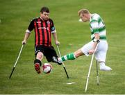 7 September 2019; Kevin Fogarty of Shamrock Rovers and Donal Bligh of Bohemians during the Megazyme Amputee Football League Cup Finals at Carlisle Grounds in Bray, Co Wicklow. Photo by Stephen McCarthy/Sportsfile