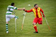 7 September 2019; Alan Wall of Shamrock Rovers and Leigh Gregory of Partick Thistle during the Megazyme Amputee Football League Cup Finals at Carlisle Grounds in Bray, Co Wicklow. Photo by Stephen McCarthy/Sportsfile