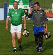 7 September 2019; Gary Kirby of Limerick and Brendan Cummins of Tipperary after The Alzheimer Society of Ireland hosting Bluebird Care sponsored Tipperary v Limerick hurling fundraiser match at Nenagh Éire Óg, Nenagh, Co Tipperary. This unique fundraising initiative, to mark World Alzheimer's Month 2019, was the brainchild of two leading Munster dementia advocates, Kevin Quaid and Kathy Ryan, who both have a dementia diagnosis. All the money raised will go towards providing community services and advocacy supports in the Munster area and beyond. Photo by Piaras Ó Mídheach/Sportsfile