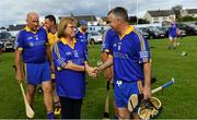 7 September 2019; Dementia advocate Kathy Ryan with Tipperary captain Michael Cleary before The Alzheimer Society of Ireland hosting Bluebird Care sponsored Tipperary v Limerick hurling fundraiser match at Nenagh Éire Óg, Nenagh, Co Tipperary. This unique fundraising initiative, to mark World Alzheimer's Month 2019, was the brainchild of two leading Munster dementia advocates, Kevin Quaid and Kathy Ryan, who both have a dementia diagnosis. All the money raised will go towards providing community services and advocacy supports in the Munster area and beyond. Photo by Piaras Ó Mídheach/Sportsfile