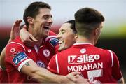 7 September 2019; Ronan Coughlan of Sligo Rovers, centre, celebrates with team-mates  Daryl Fordyce and Niall Morahan after scoring his side's first goal during the Extra.ie FAI Cup Quarter-Final match between Sligo Rovers and UCD at The Showgrounds in Sligo. Photo by Oliver McVeigh/Sportsfile