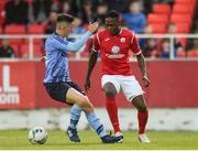 7 September 2019; Romeo Parkes of Sligo Rovers in action against Luke Boore of UCD during the Extra.ie FAI Cup Quarter-Final match between Sligo Rovers and UCD at The Showgrounds in Sligo. Photo by Oliver McVeigh/Sportsfile