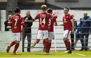 7 September 2019; David Cawley of Sligo Rovers, right, celebrates with team-mates after scoring his side's second goal during the Extra.ie FAI Cup Quarter-Final match between Sligo Rovers and UCD at The Showgrounds in Sligo. Photo by Oliver McVeigh/Sportsfile