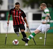 7 September 2019; Stefan Balog of Bohemians and Sean Furlong of Shamrock Rovers during the Megazyme Amputee Football League Cup Finals at Carlisle Grounds in Bray, Co Wicklow. Photo by Stephen McCarthy/Sportsfile