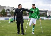 7 September 2019; Shamrock Rovers coach Stuart McSweeney and Alan Wall ahead of the Megazyme Amputee Football League Cup Finals at Carlisle Grounds in Bray, Co Wicklow. Photo by Stephen McCarthy/Sportsfile