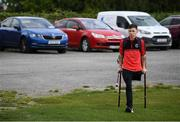 7 September 2019; Neil Hoey of Bohemians arrives ahead of the Megazyme Amputee Football League Cup Finals at Carlisle Grounds in Bray, Co Wicklow. Photo by Stephen McCarthy/Sportsfile