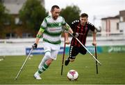 7 September 2019; Kevan O'Rourke of Shamrock Rovers and Neil Hoey of Bohemians during the Megazyme Amputee Football League Cup Finals at Carlisle Grounds in Bray, Co Wicklow. Photo by Stephen McCarthy/Sportsfile
