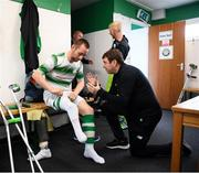 7 September 2019; Shamrock Rovers coach Stuart McSweeney speaks with Kevin O'Rourke ahead of the Megazyme Amputee Football League Cup Finals at Carlisle Grounds in Bray, Co Wicklow. Photo by Stephen McCarthy/Sportsfile