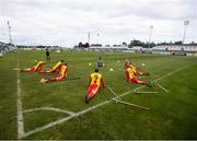 7 September 2019; Partick Thistle players stretch prior to the Megazyme Amputee Football League Cup Finals at Carlisle Grounds in Bray, Co Wicklow. Photo by Stephen McCarthy/Sportsfile