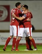 7 September 2019; Regan Donelon of Sligo Rovers, right, celebrates with Daryl Fordyce and Ronan Coughlan after scoring his side's third goal during the Extra.ie FAI Cup Quarter-Final match between Sligo Rovers and UCD at The Showgrounds in Sligo. Photo by Oliver McVeigh/Sportsfile