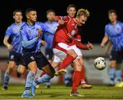 7 September 2019; Kris Twardek of Sligo Rovers in action against Yoyo Mahdy of UCD during the Extra.ie FAI Cup Quarter-Final match between Sligo Rovers and UCD at The Showgrounds in Sligo. Photo by Oliver McVeigh/Sportsfile