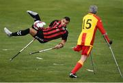 7 September 2019; Stefan Balog of Bohemians and Brian Murray of Partick Thistle during the Megazyme Amputee Football League Cup Finals at Carlisle Grounds in Bray, Co Wicklow. Photo by Stephen McCarthy/Sportsfile