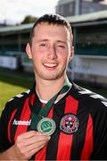 7 September 2019; Patrick Hickey of Bohemians celebrates following the Megazyme Amputee Football League Cup Finals at Carlisle Grounds in Bray, Co Wicklow. Photo by Stephen McCarthy/Sportsfile