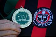 7 September 2019; A winners medal is seen alongside the Bohemians crest following the Megazyme Amputee Football League Cup Finals at Carlisle Grounds in Bray, Co Wicklow. Photo by Stephen McCarthy/Sportsfile