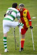 7 September 2019; Alan Wall of Shamrock Rovers and Brian Murray of Partick Thistle during the Megazyme Amputee Football League Cup Finals at Carlisle Grounds in Bray, Co Wicklow. Photo by Stephen McCarthy/Sportsfile