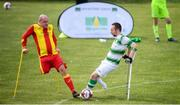 7 September 2019; Kevan O'Rourke of Shamrock Rovers and Gerry Mulheron of Partick Thistle during the Megazyme Amputee Football League Cup Finals at Carlisle Grounds in Bray, Co Wicklow. Photo by Stephen McCarthy/Sportsfile