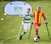 7 September 2019; Michal Lennon of Partick Thistle and Sean Furlong of Shamrock Rovers during the Megazyme Amputee Football League Cup Finals at Carlisle Grounds in Bray, Co Wicklow. Photo by Stephen McCarthy/Sportsfile
