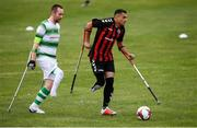 7 September 2019; Stefan Balog of Bohemians and Kevan O'Rourke of Shamrock Rovers during the Megazyme Amputee Football League Cup Finals at Carlisle Grounds in Bray, Co Wicklow. Photo by Stephen McCarthy/Sportsfile