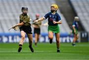 8 September 2019; Rachel McCarthy of Kerry in action against Geri Mai O'Kelly of Limerick during the Liberty Insurance All-Ireland Premier Junior Camogie Championship Final match between Kerry and Limerick at Croke Park in Dublin. Photo by Piaras Ó Mídheach/Sportsfile