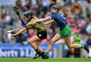 8 September 2019; Jessica Fitzell of Kerry in action against Kate Herbert of Limerick during the Liberty Insurance All-Ireland Premier Junior Camogie Championship Final match between Kerry and Limerick at Croke Park in Dublin. Photo by Piaras Ó Mídheach/Sportsfile