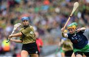 8 September 2019; Julianne O'Keeffe of Kerry in action against Aoife Coughlan of Limerick during the Liberty Insurance All-Ireland Premier Junior Camogie Championship Final match between Kerry and Limerick at Croke Park in Dublin. Photo by Piaras Ó Mídheach/Sportsfile
