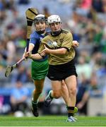 8 September 2019; Bríd Horan of Kerry in action against Yvonne Lee of Limerick during the Liberty Insurance All-Ireland Premier Junior Camogie Championship Final match between Kerry and Limerick at Croke Park in Dublin. Photo by Piaras Ó Mídheach/Sportsfile