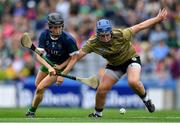 8 September 2019; Jackie Horgan of Kerry in action against Ann Kennedy of Limerick during the Liberty Insurance All-Ireland Premier Junior Camogie Championship Final match between Kerry and Limerick at Croke Park in Dublin. Photo by Piaras Ó Mídheach/Sportsfile