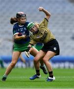 8 September 2019; Michelle Costello of Kerry in action against Grace Lee of Limerick during the Liberty Insurance All-Ireland Premier Junior Camogie Championship Final match between Kerry and Limerick at Croke Park in Dublin. Photo by Piaras Ó Mídheach/Sportsfile