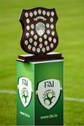 8 September 2019; A view of the trophy prior to the FAI Women's Intermediate Shield Final match between Manulla FC and Whitehall Rangers at Mullingar Athletic FC in Mullingar, Co. Westmeath. Photo by Seb Daly/Sportsfile