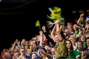 8 September 2019; Kerry captain Niamh Leen lifts the Kathleen Mills Cup following the Liberty Insurance All-Ireland Premier Junior Camogie Championship Final match between Kerry and Limerick at Croke Park in Dublin. Photo by Ramsey Cardy/Sportsfile