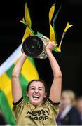 8 September 2019; Kerry captain Niamh Leen lifts the Kathleen Mills Cup after the Liberty Insurance All-Ireland Premier Junior Camogie Championship Final match between Kerry and Limerick at Croke Park in Dublin. Photo by Piaras Ó Mídheach/Sportsfile