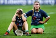 8 September 2019; Limerick players Rebecca Noonan, left, and Brenda O'Keefe look on during the cup presentation to Kerry after the Liberty Insurance All-Ireland Premier Junior Camogie Championship Final match between Kerry and Limerick at Croke Park in Dublin. Photo by Piaras Ó Mídheach/Sportsfile