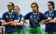 8 September 2019; Limerick players Geri Mai O'Kelly, 11 and Noelle Curtin, left, look on during the cup presentation to Kerry after the Liberty Insurance All-Ireland Premier Junior Camogie Championship Final match between Kerry and Limerick at Croke Park in Dublin. Photo by Piaras Ó Mídheach/Sportsfile